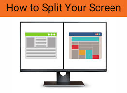 A picture of a screen with cartoon like applications on the right and left with the words How to Split Your Screen above