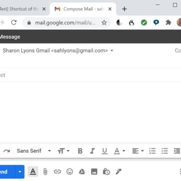 A screenshot of composing in Gmail in a new tab