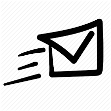 A cartoon envelope with horizontal lines to the left to show movement