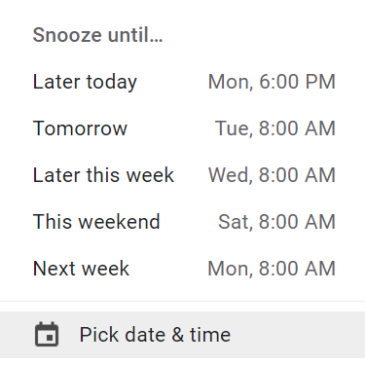 A screenshot of the snooze options in Gmail